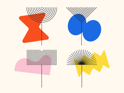 Shape Study: 011 vector simple minimal flower illustration primary colors black pink yellow red blue bauhaus abstraction geometric repetition lines nature plants flowers abstract shapes