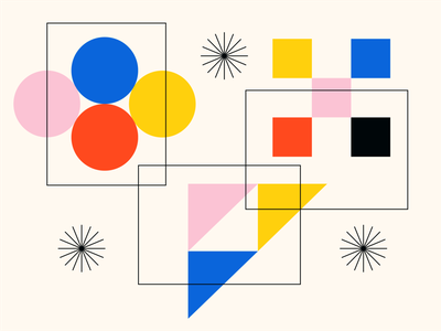 Support Documents geometric flat monoline linework yellow black red pink primary colors bauhaus triangle square circle documents website illustration blue icon vector minimal