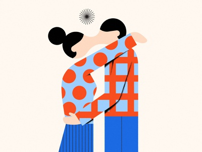 Inseparable body hands hug kiss woman man love couple square circle primary shapes black baby blue blue red simple geometry geometric abstract minimal