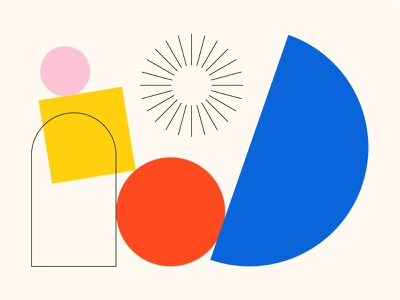 Growing Together flat design abstract minimal vector icon blue illustration website square circle bauhaus primary colors pink red black yellow linework monoline flat geometric