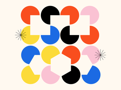 Shape Study: 012 icon flat monoline stars black red yellow pink blue illusion abstract geometric geometry circles squares negative space bauhaus minimal simple vector