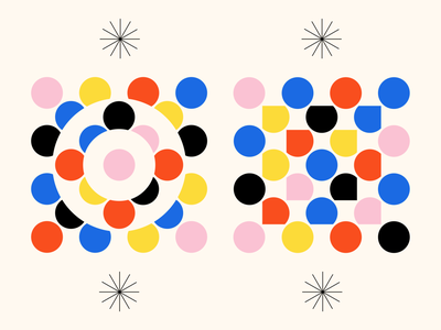 Shape Study: 013 primary colors negative space bauhaus simple square circles circle geometry geometric abstract gestalt blue pink yellow red black stars monoline pattern flat