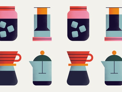 Roamers Coffee Club Icons orange drip french press water ice cold brew pourover filter aeropress brewing logo design pink illustration texture icon blue vector minimal coffee