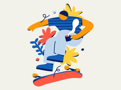 Skateboarding x Coffee cafe coffee roaster culture primary colors geometric abstract yellow blue red leaves plants sports skater skateboard skate coffee skateboarding