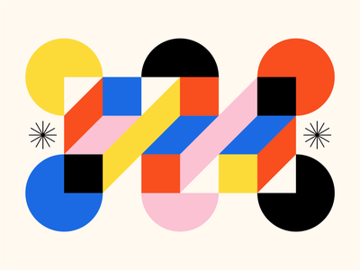 Shape Study: 015 stars gestalt bauhaus simple primary colors monoline red black blue yellow pink abstraction square shapes circles abstract geometry geometric minimal flat