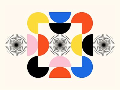 Shape Study: 016 black pink yellow blue red blocks flat minimal negative space circles abstract goemetric shapes geometry monoline primary colors simple bauhaus gestalt stars