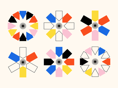 Shape Study: 017 minimal flat gestalt circle yellow black pink blue red primary colors negative space monoline geometry geometric icons abstract stars rectangles shapes illustration