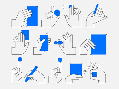 Hands! branding blue monoline abstract geometric collaboration wireframe phone tools pen user experience buttons web design digital user interface human poses people fingers hands