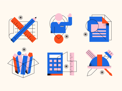 Building Products Icons texture tools screwdriver pen pencil ruler icons simple abstract geometric customer people calculator architect documents hard hat residential home building costruction