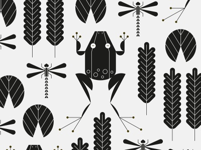 Pond Critters animal leaves plants dragonfly frog illustration vector icon minimal