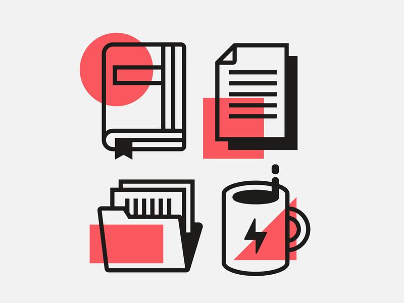Office Life accounting docket supplies notebook energy job work office folder paper book coffee logo icon monoline illustration design minimal texture vector