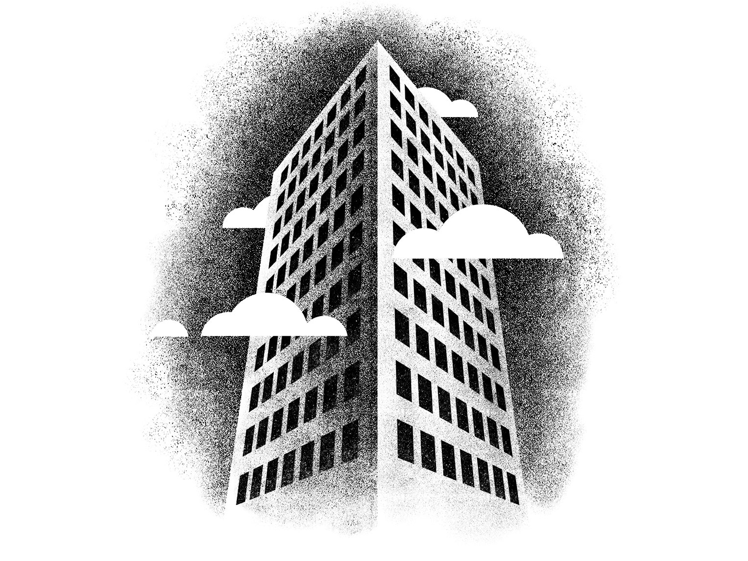 Building illustration design shading grain gritty tall sky city architecture clouds windows skyscraper building vector texture minimal