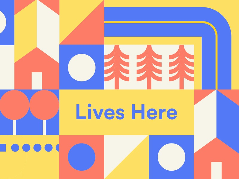 Leduc Illustration Part 2 rectangle tan yellow pink blue geometric square circle triangle plane house road trees train typography neon illustration icon vector minimal