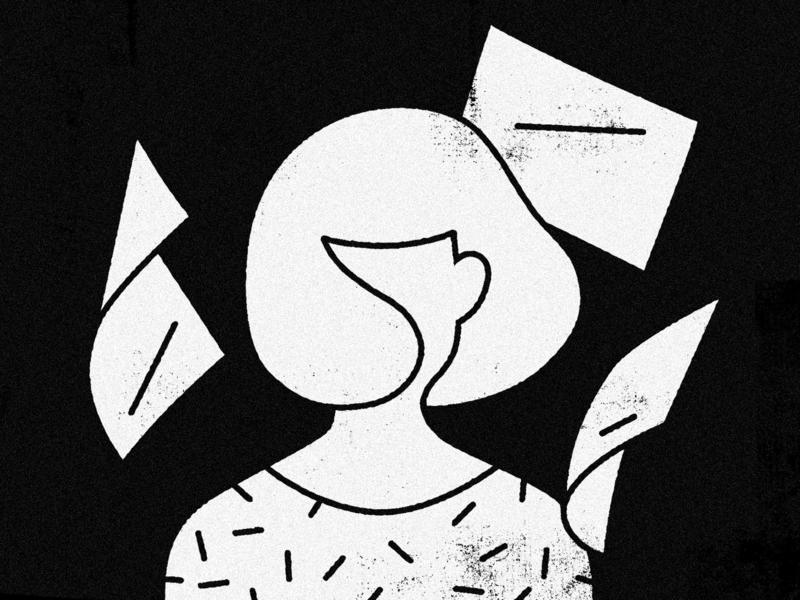 Breezing paper shirt girl wind vector minimal