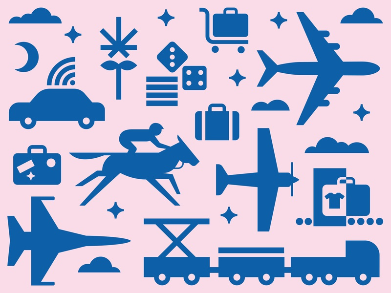 Airport Icons car cannabis casino clouds stars suitcase cargo horse airplane blue pink illustration icon minimal