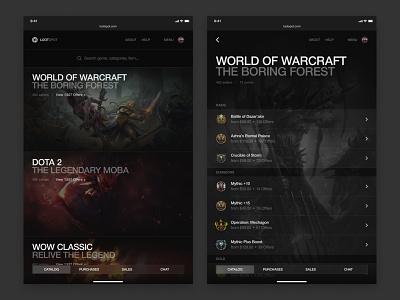 Lootspot saas catalog game platform marketplace tablet helvetica typography black brand ux ui website design web minimal clean