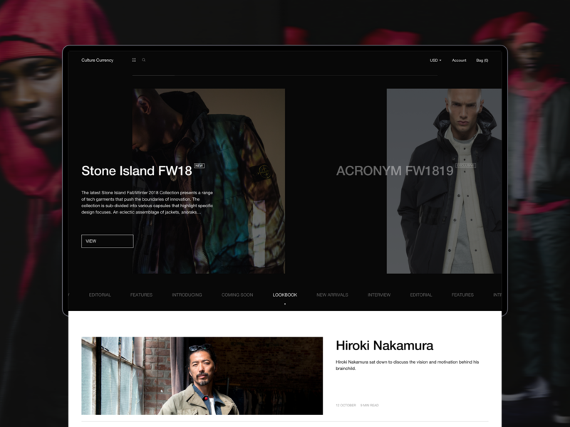 Culture Currency uikit design ecommerce typogaphy japanese clean minimal brand black journal blog website web desktop ux ui