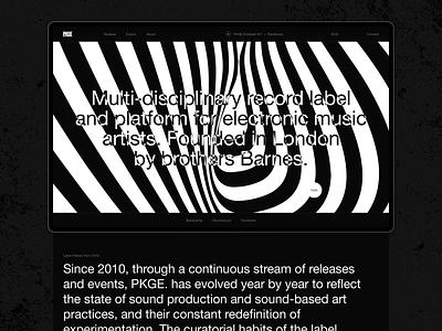 Package Records web design brutalism record label music records logo typography helvetica black desktop ux ui website design web minimal clean