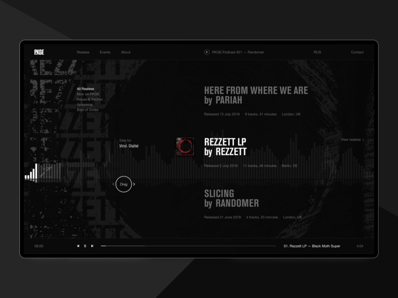 Package Records player web design cover realese records record label music typography helvetica black ux design brand desktop ux ui website design web minimal clean
