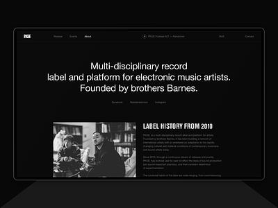 Package Records. festival event web design music record label records typography black helvetica ux design brand desktop ux ui website design web minimal clean