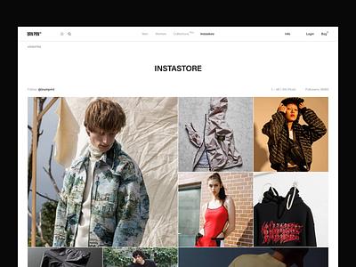 BRN PRN instagram instastore white black e-commerce fullscreen concept typography brand desktop ux ui website design web minimal clean