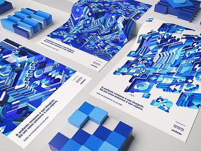 Andante Ideas Contest tiles shapes pattern 3d geometry blue color design graphic design contest ideas andante