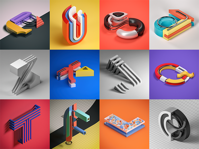 Alphabet Project 36daysoftype illustration typography type photoshop geometric cinema 4d cgi c4d alphabet 3d