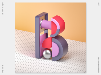B - 36 Days of Type daily type design graphic graphic design cgi illustration typography 3d 36daysoftype