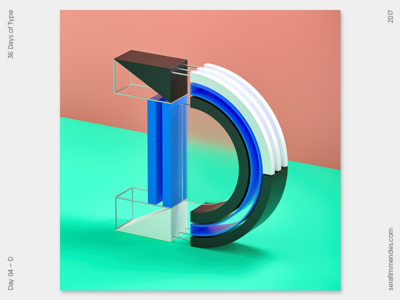 D - 36 Days of Type daily type design graphic graphic design cgi illustration typography 3d 36daysoftype