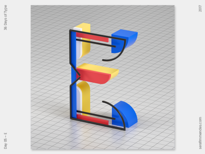 E - 36 Days of Type daily type design graphic graphic design cgi illustration typography 3d 36daysoftype