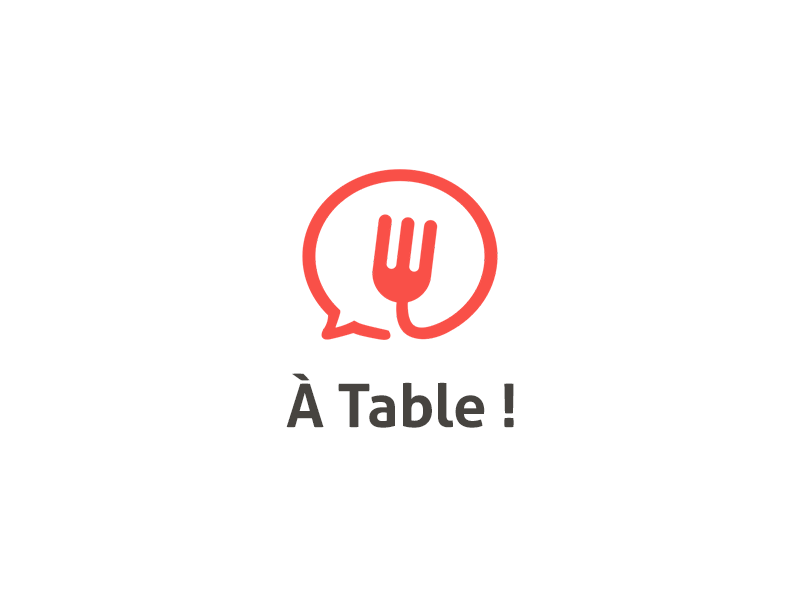 A Table logo food event red brown share tell discover cook cooking fork meal meet
