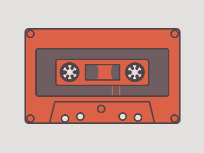 Tape illustration tape orange purple music sketch vector illustration sound cassette old flat
