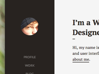 Portfolio redesign WIP profile design web design portfolio black grey interface website sidebar clean minimal belgium