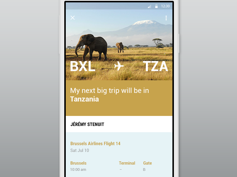 BXL -> TZA android app mobile design flight travel trip flat ui photography material google