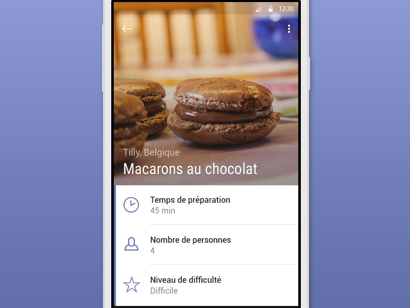 Macarons au chocolat mobile design app flat ui food android material google cooking photography macarons