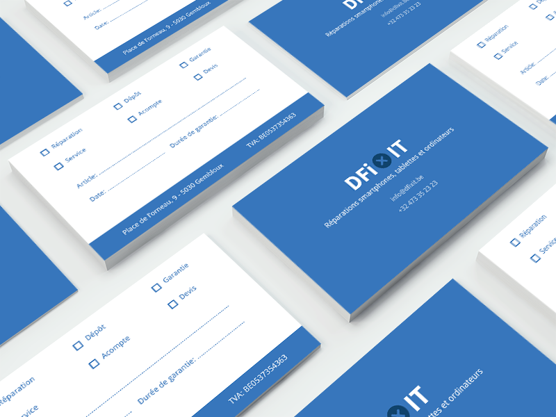 DFixit Business Cards brand android ios belgium devices fix smartphones blue logo branding cards business