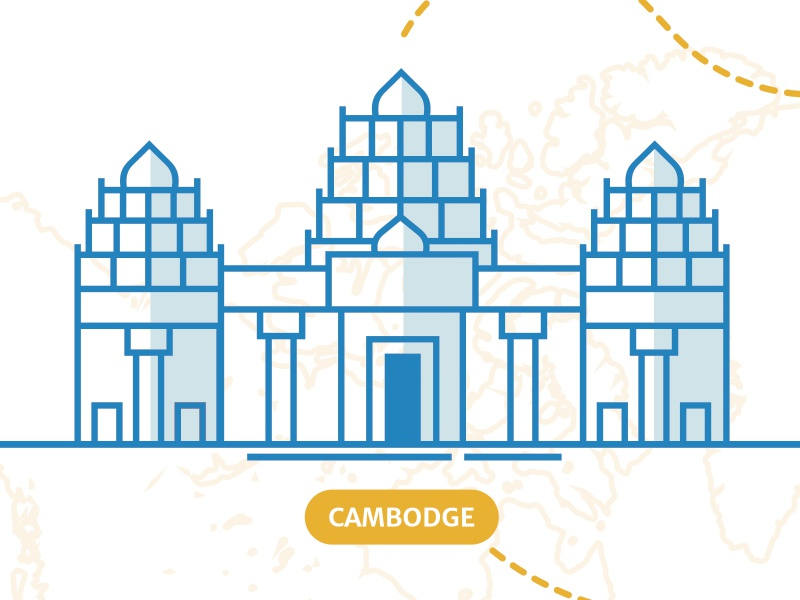 Cambodia - illustration stroke cambodia temple illustration identity print travel map blue yellow branding wedding