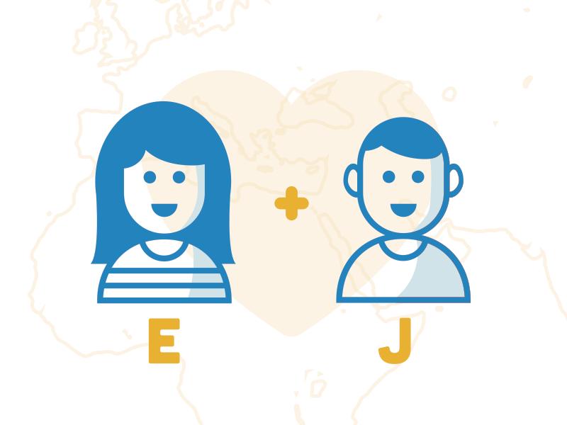 E + J - illustration stroke couple character illustration identity print travel map love yellow branding wedding