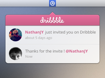 Thanks for the invitation thanks dribbble invite notification debut first shot pink blur welcome
