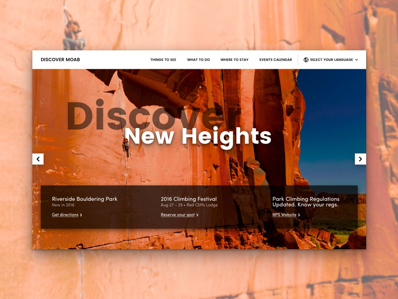 Discover Moab Landing page utah photography landing page header carousel scoll
