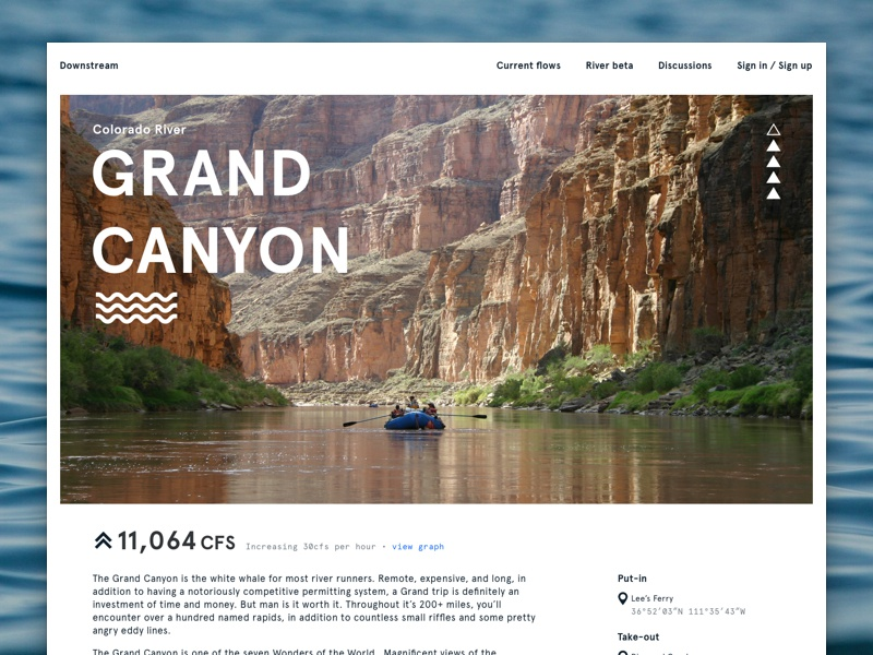 Downstream Flows icons web app landing page simple minimal navigation interface website