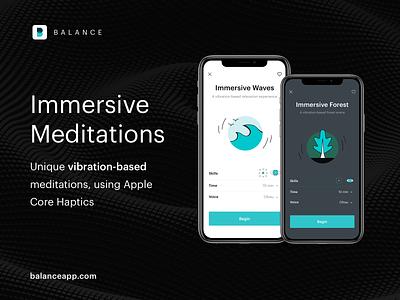 Balance: Immersive Meditations (iOS app) forest waves illustrator visual design ux design uidesign uiux mobile ui vibration immersive mindfulness meditation app meditation ios app ios mobile design mobile app mobile app design app