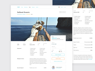 Yacht & Boat Rentals - Details Page minimal details page profile boat rentals rental website minimal website web design boat yacht website design