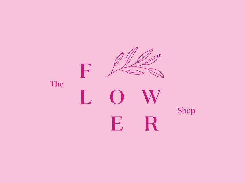The Flower Shop Logo flower shop minimal typography logo design visual identity flower identity branding logo