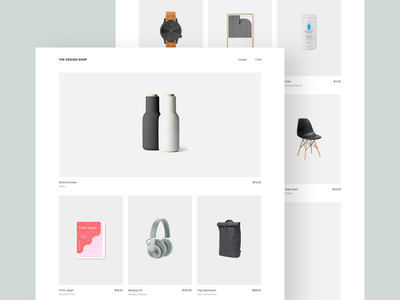 The Design Shop gallery shopping lifestyle minimal ui design products page web user interface ecommerce design shop design store web shop web store landing page one page minimal design website design web design