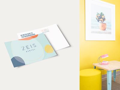 Zeis Dental Postcard illustration logo mailer postcard