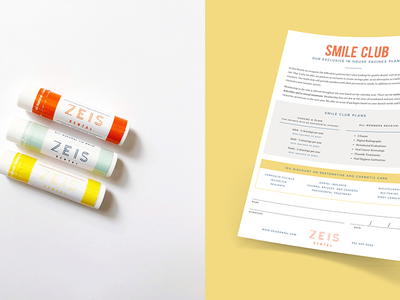 Zeis Dental Forms & Swag branding logo layout forms lip balm swag
