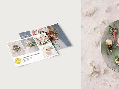Haute House Studio Postcard flowers logo rebrand postcard marketing materials