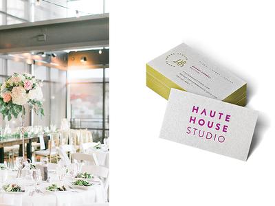 Haute House Studio Business Cards florist rebranding logo business card design letterpress business cards
