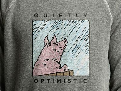 Quietly Optimistic t design t shirt raining gotham color optimism optimistic piggy pig illustration design